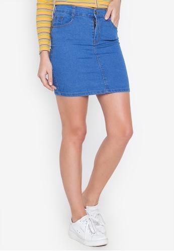 Ninety Nine Point Nine Boutiq blue Denim High-Waist Mini Skirt 8A41EAA9859687GS_1