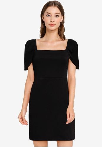 Miss Selfridge black Black Puff Sleeve Mini Dress 0AC7CAA6883D5CGS_1