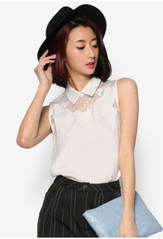 Collared Blouse With Mesh Panel