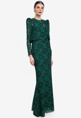 Rizalman for Zalora black and green Ravana Modern Kurung RI909AA0SEYAMY_1