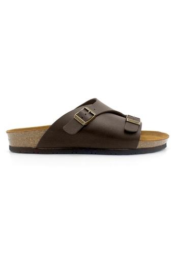 SoleSimple brown Jersey - Dark Brown Leather Sandals & Flip Flops 0D074SHED37452GS_1