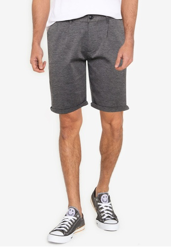 !Solid grey Pleated Chino Shorts 45638AACD37517GS_1