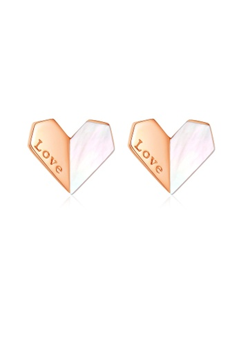 SUNRAIS High quality Silver S925 rose gold heart earrings BED6CAC112CB2AGS_1