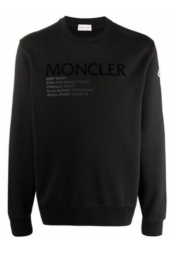 Moncler black Moncler Mottos Graphic Sweatshirt in Black EB15FAA0F3DEEBGS_1