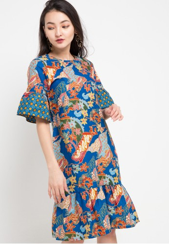 Anakara blue and multi Frilly Dress Melania 57B7DAA7B83BA4GS_1