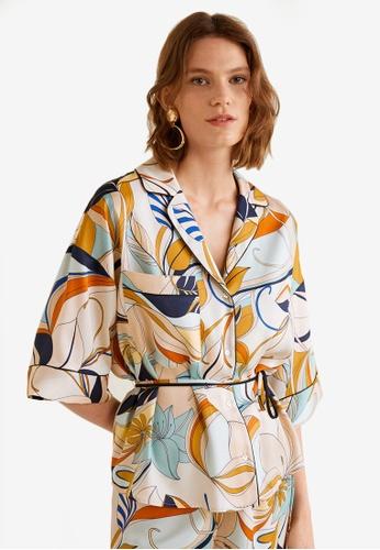 Mango blue Floral Print Blouse 0DC03AAFFB0420GS_1