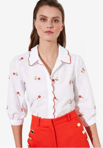 Trendyol white Flower Embroidered Shirt 3FBD7AABA98036GS_1