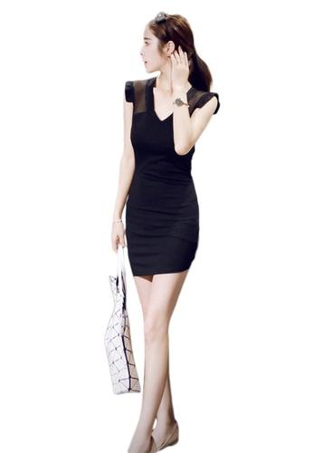 Sunnydaysweety black Korean Style Sexy V-Neck Mesh Stitching Wrap Hip One Piece Dress A2102238 ABB19AA65C722AGS_1