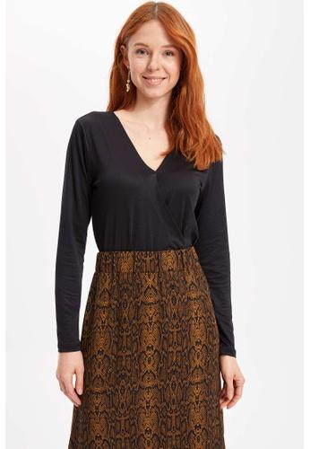 DeFacto black Woman Knitted Long Sleeve T-Shirt B3DEAAACD5A7F4GS_1