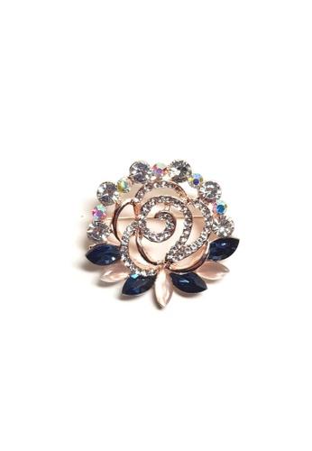 Loveaisyah navy Brooch Navy crystal faux diamond Moonstone Flower 02F01ACAD491A0GS_1