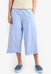 Mango blue Scalloped Hem Crop Trousers MA193AA0RAU8MY_1