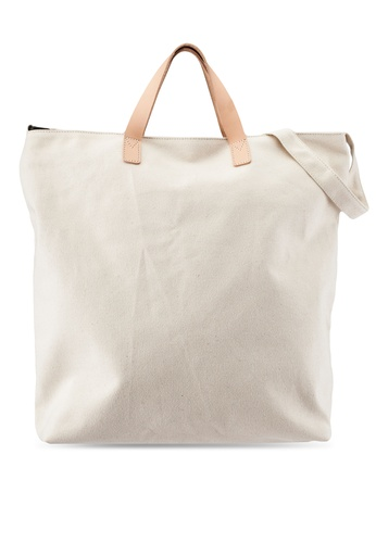 JAXON white Canvas Tote Bag with Veg Tanned Leather Handle CE904ACFC1C099GS_1