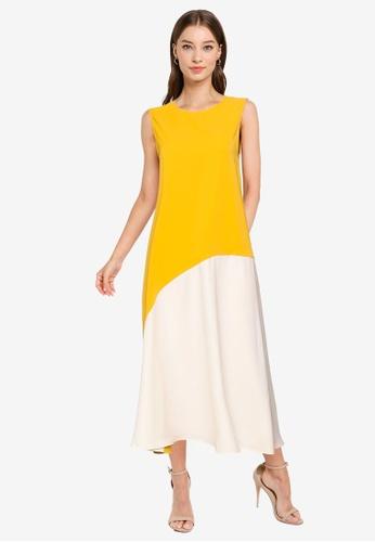 ZALORA WORK multi Colourblock Midi Dress 79543AA6630449GS_1