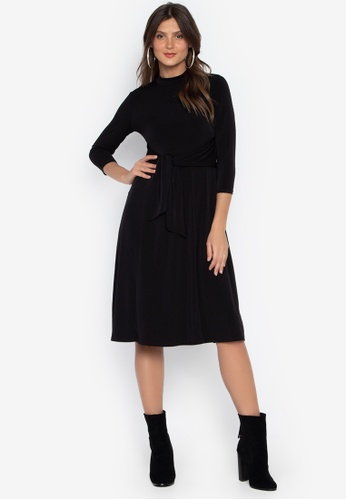 DEBENHAMS black The Collection Petite - Col Pt Fit And Flare Dress A5595AA54F246DGS_1