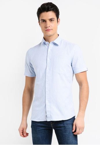 UniqTee 藍色 條紋短袖襯衫 8F795AA5D0D16DGS_1