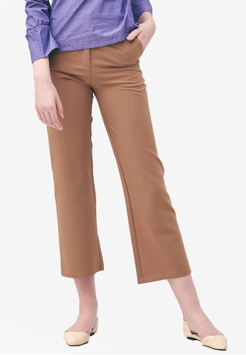 Kodz brown Tailored Mid-Rise Trousers CC5F8AA3FB6F50GS_1