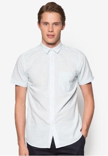條紋暗紋休閒短袖襯衫esprit 特賣, 服飾, 服飾
