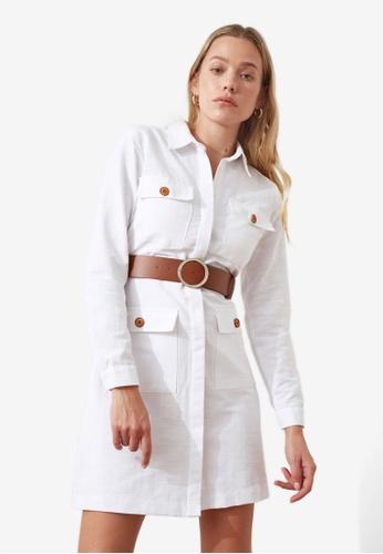 Trendyol white Belted Long Sleeve Dress 4EDAFAAFFA22B7GS_1