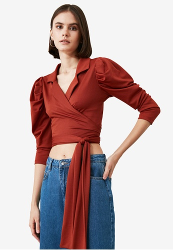 Trendyol red Puffed Sleeve Tie Waist Wrap Blouse B567FAAC23013FGS_1