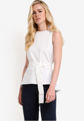 ZALORA white Shell Top With Belt B6C15AAEB8C42CGS_1