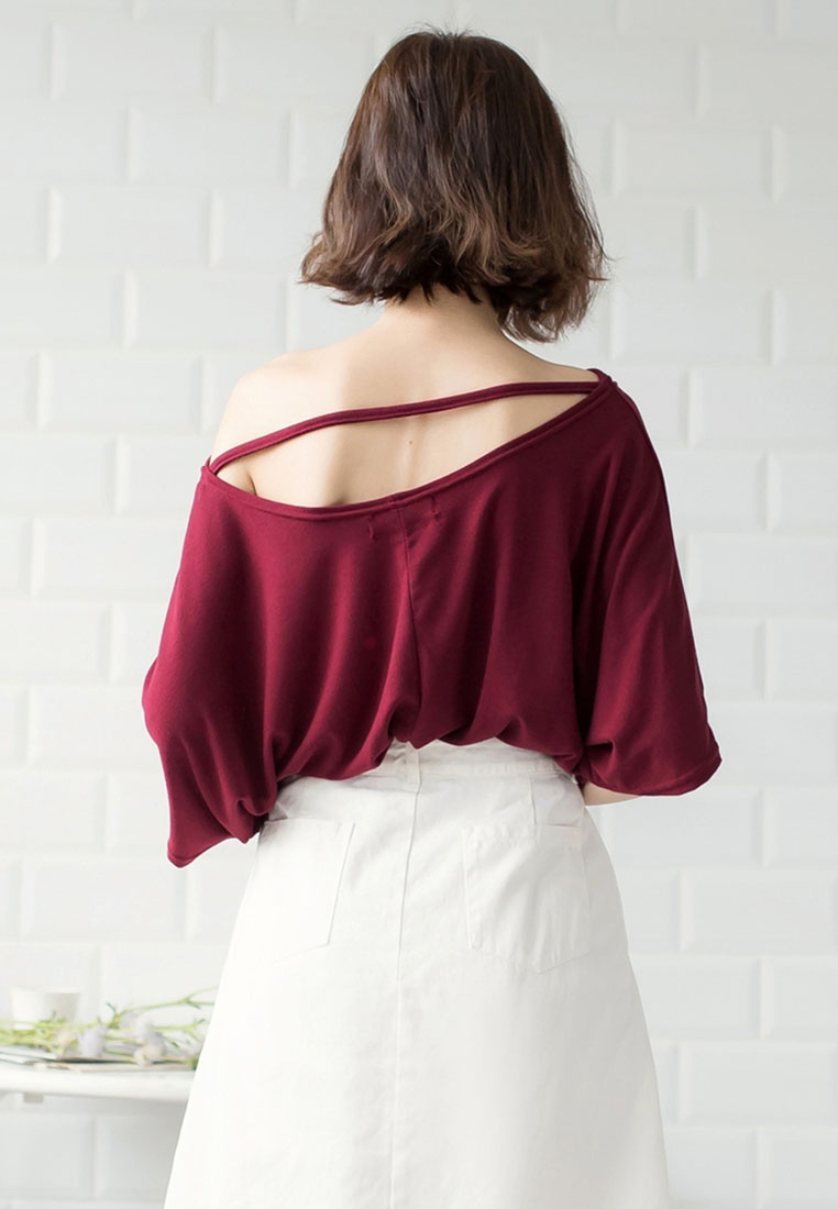 Top Red Wine Uneven Neck Casual Tokichoi qvwIAt4t