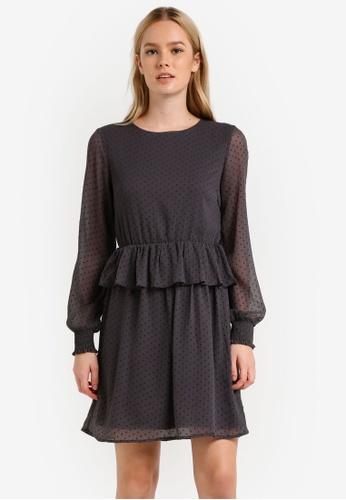 Vero Moda grey Kim Peplum Mini Dress VE975AA0RMDZMY_1
