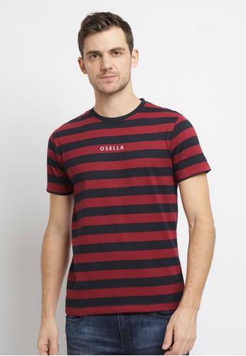 Osella red Osella Baju Pria T-shirt Lengan Pendek Stripe Red Bordir Osella 7E023AA3C44B53GS_1