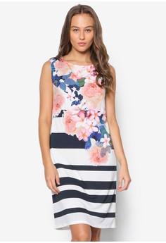 Floral Printed Stripe Tunic Dress