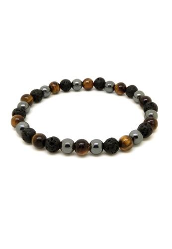 Fur Nyce black Tiger Eyes, Hematite and Lava Bead Bracelet 9617CAC1A4CCFDGS_1