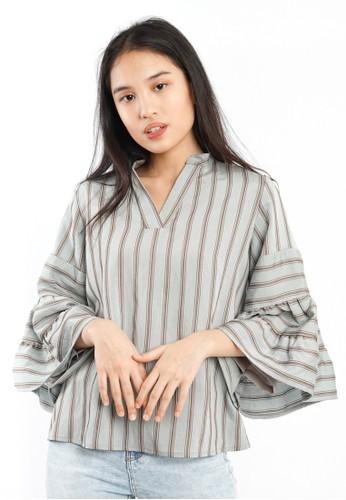 Agatha grey Agatha Grey Stripe Bell Sleeves 45188AA6FC7DCDGS_1
