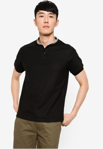 ZALORA BASICS black Stand Collar Polo with Contrast Tipping 07FC3AA42E7D50GS_1