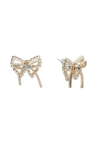 Saturation gold Cupido Butterfly Stud Earrings 050BAAC719F1C7GS_1