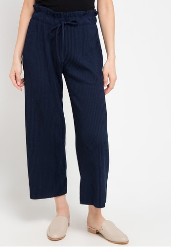 Chic Simple navy Pleated Cullotes 176FEAA4EB1281GS_1