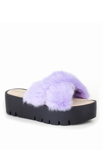 London Rag purple Women Summer Faux Fur Slipper 9DC65SHB993302GS_1