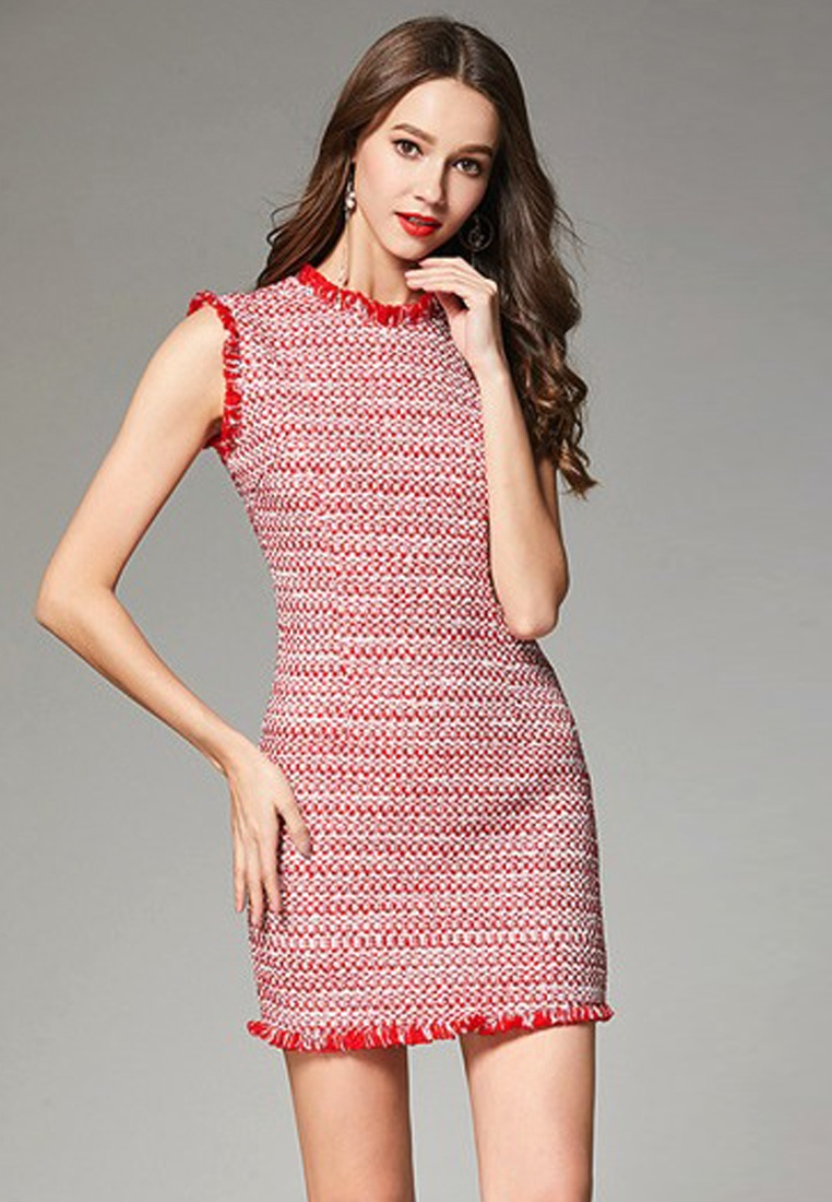 New CA062939MT Piece 2018 Red Dress Sleeveless Tweed One Sunnydaysweety dx6OwBYOq