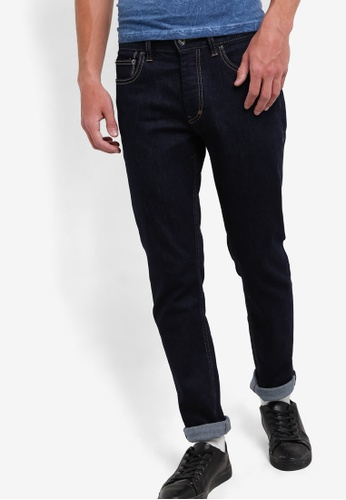 Topman blue and navy Dark Blue Stretch Slim Jeans TO413AA36RTJMY_1