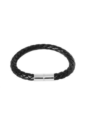 Elfi black Elfi Stainless Steel Magnetic Clasp Leather Bracelet LB02 EL186AC0SS8HMY_1