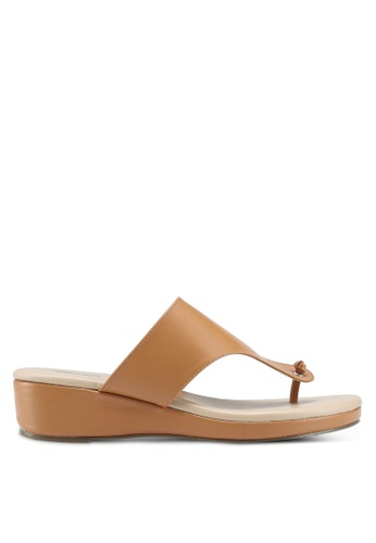 Bata brown Slide On Wedge Sandals 49104SH882E792GS_1