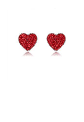 Glamorousky 紅色 925純銀簡約浪漫心形耳釘配紅色鋯石 7522AAC394B577GS_1
