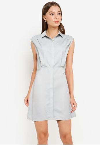 ZALORA WORK green Pleat Shoulder Shirt Dress 6EAE5AA8F24F2BGS_1