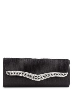 Unisa Dinner Clutch with Glittering Colour Stones & Crystal Embellishment
