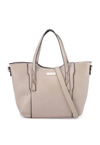 Unisa beige Debossed Convertible Top Handle Bag D7F65AC291E19AGS_1