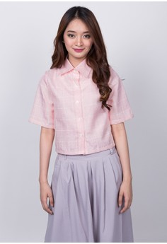 Pink Grid Cropped Polo
