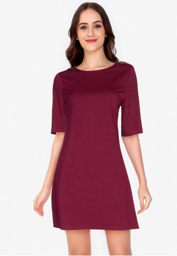 ZALORA WORK purple Button Tab Mini Dress 44247AA59C6014GS_1
