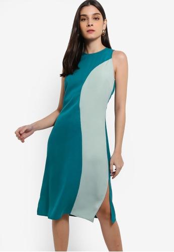 ZALORA 綠色 Colourblock Sleeveless Dress With Slits DD18DAA12A4868GS_1