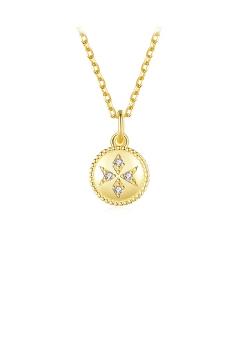 Glamorousky white 925 Sterling Silver Plated Gold Fashion Simple Geometric Round Pendant with Cubic Zirconia and Necklace 1AAD2AC77DBF4CGS_1