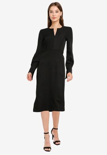 ZALORA WORK black Notch Neck Long Sleeve Dress F10E7AAF61DC26GS_1