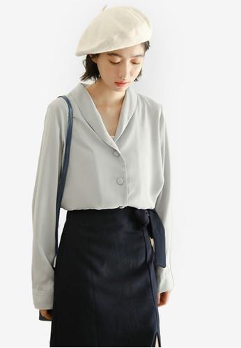 Shopsfashion 藍色 Button Up Blouse D217EAA75E57B0GS_1