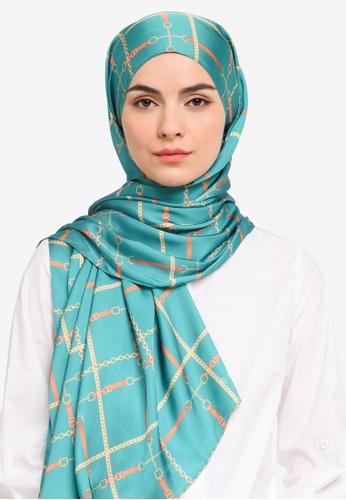 Hijabii green Lisa Stripe Shawl in Green 71D6AACBDD5684GS_1