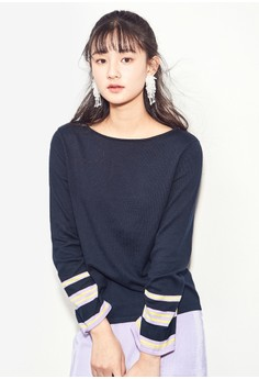Boat Neck Striped Bell Sleeve Top